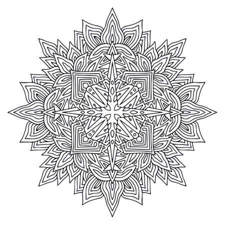 Ornamental Mandala. Tattoo art design. Ethnic ornament pattern. Coloring book page. Interior mandala print