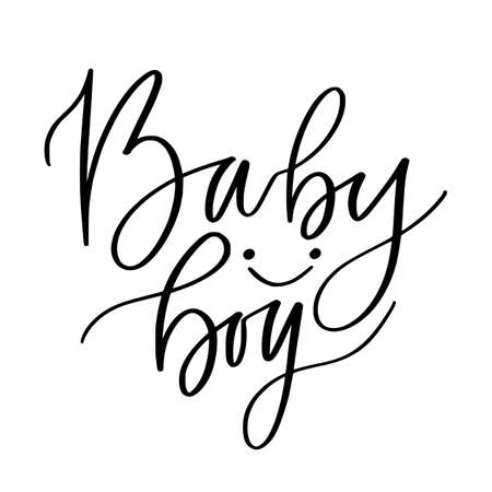 Baby boy print. Modern calligraphy design. Childish t-shirt template 일러스트