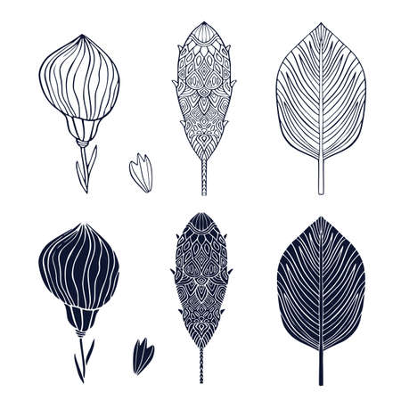 Tripial flower and leaf. Linear and silhouette collection. Interior stickers. Exotic flowers for tattoo or logo 일러스트
