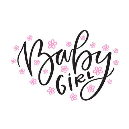 Baby girl text. Kids hand lettered print. Childish t-shirt design
