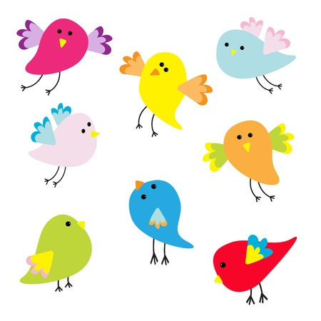 Set of cute cartoon birds  Vector illustration Vector