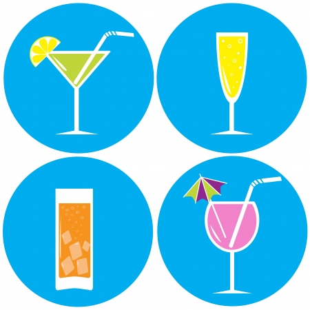 Set of drinks, cocktails  Vector illustration  Icons Stock Vector - 21770196
