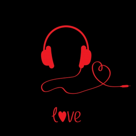 Red headphones with cord . Black background.  Love card. Vector illustration. Vector