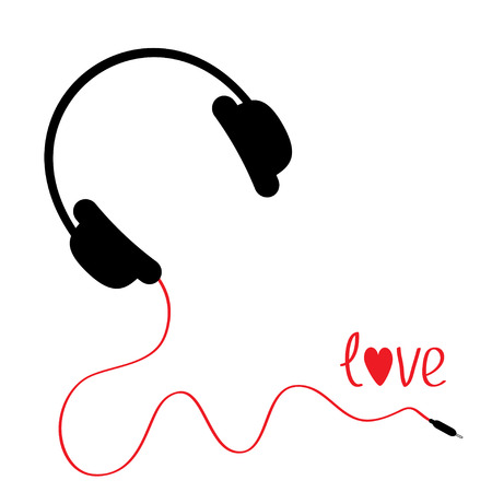 Black headphones with red cord. Love card. Vector illustration. Vector
