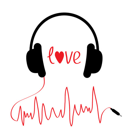 Black headphones with red cord  in shape of cardiogram. Isolated. Love card. Vector illustration. Vector