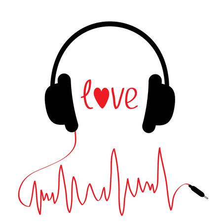 Zwarte hoofdtelefoon met rode koord in vorm van cardiogram. Geïsoleerd. Liefde kaart. Vector illustratie.