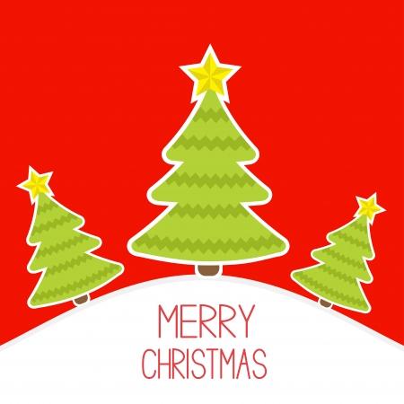 snowy hill: Three Christmas trees a snowy hill.  Merry Christmas card. Vector illustration.