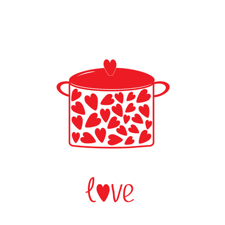 Pot with hearts.  Love card. Vector illustration. Illustration