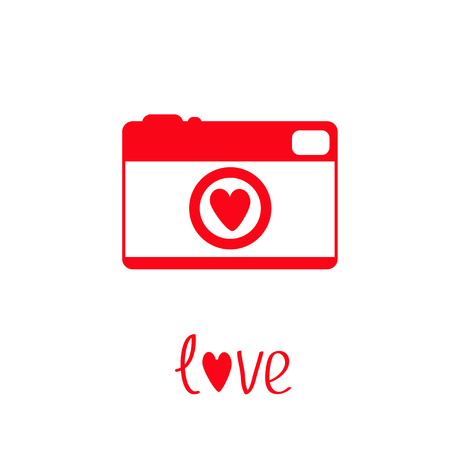 Red and white photo camera with heart.  Love card. Vector illustration. Vector