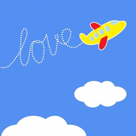 airplane window: Cartoon plane. Dash word Love in the sky. Love card. Vector illustration.