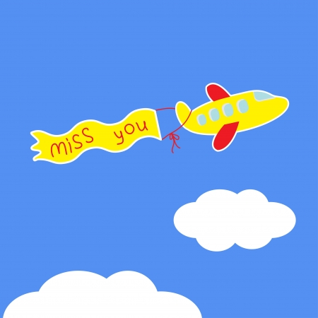 blue you: Cartoon plane. Ribbon with words Miss you. Card. Vector illustration.