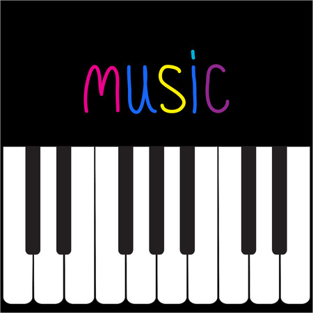 Piano Keys and colorful word Music illustration Vector