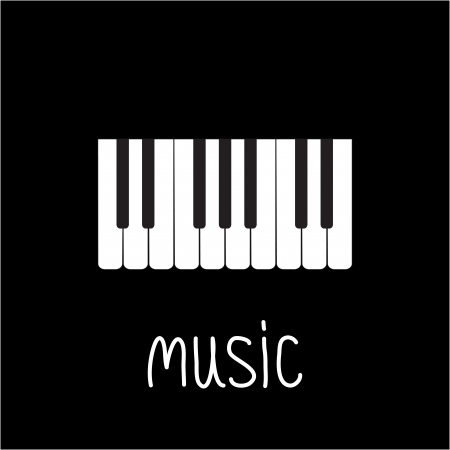 key words art: Piano Keys and white word Music illustration