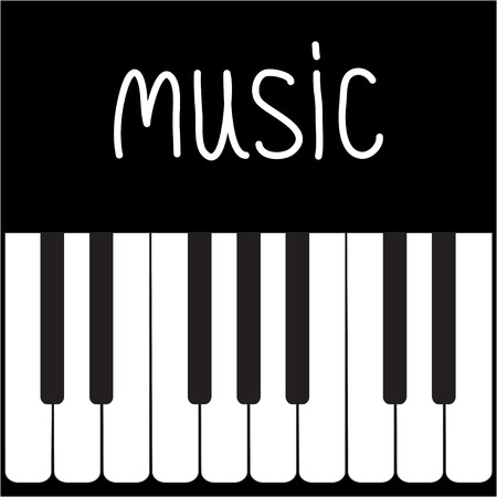 Big piano Keys and white word Music illustration Vector