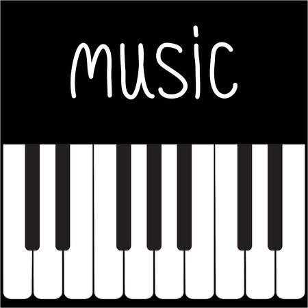 piano keys: Big piano Keys and white word Music illustration