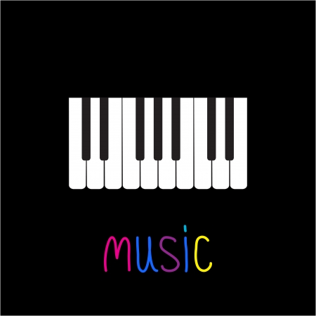 key words art: Piano Keys with word Music illustration