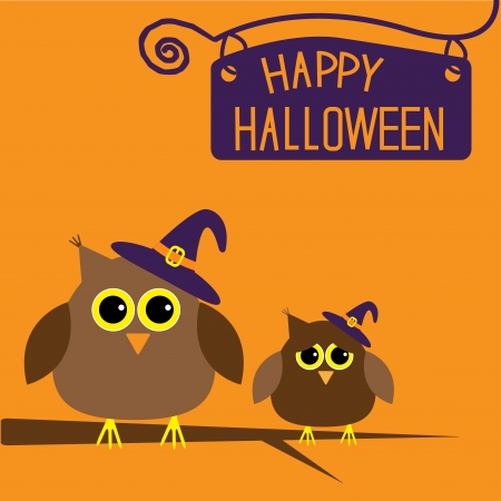 Happy Halloween card with owls illustration Vector
