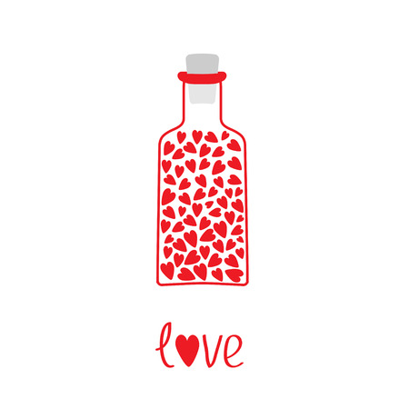 bung: Love bottle with hearts inside  illustration  Card