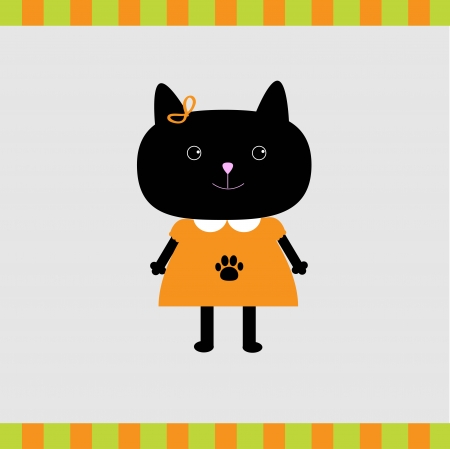 Black cat girl card  illustration  Card Vector