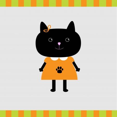 Black cat girl card  illustration  Card