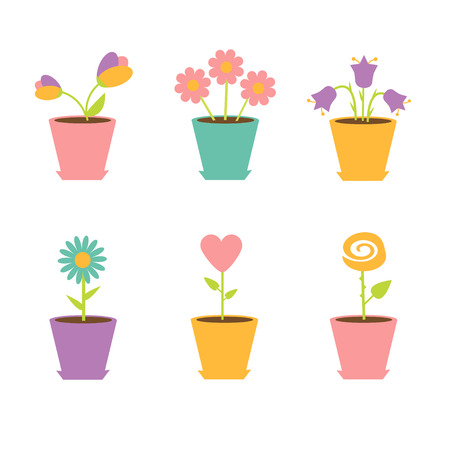 Set of flowers in pots  illustration Vector
