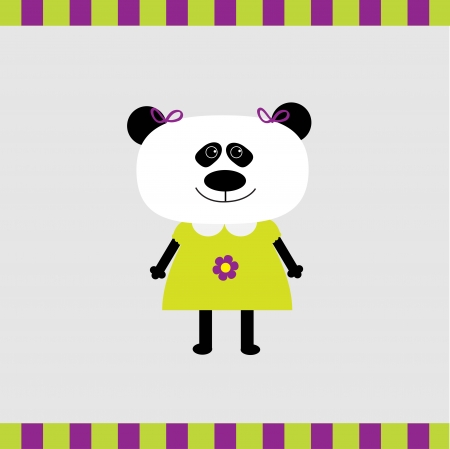 Cartoon panda girl card  illustration   Vector