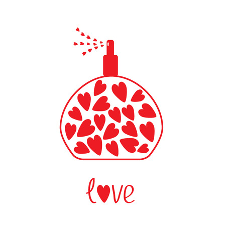 Perfume with hearts inside  illustration   Card Vector