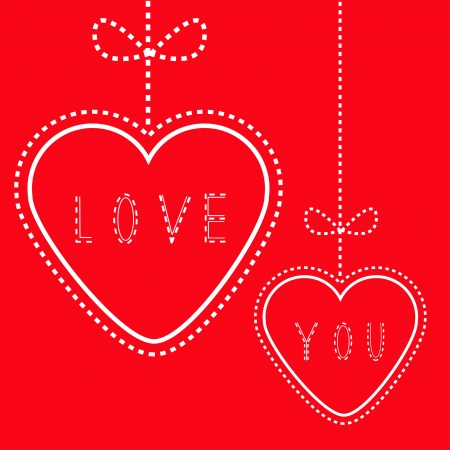 Two hanging red hearts with bows. Love card. Illustration Vector