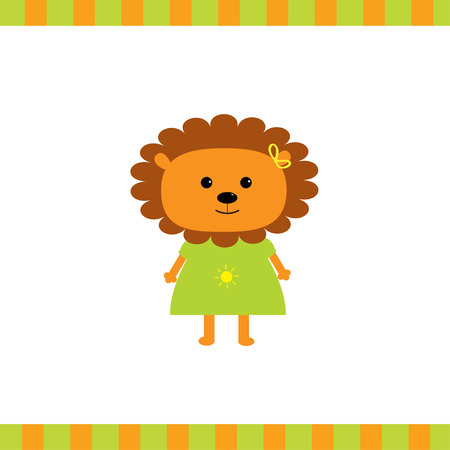 Cartoon lion girl card. Vector illustration.  Vector