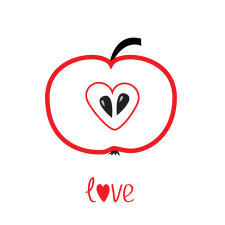 Red apple with heart shape illustration Vector