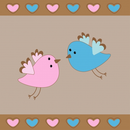 Cute birds love card Vector