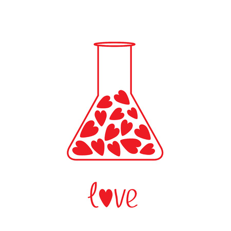 Love laboratory glass with hearts inside Vector