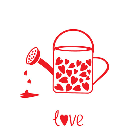 Love watering can with hearts inside Vector