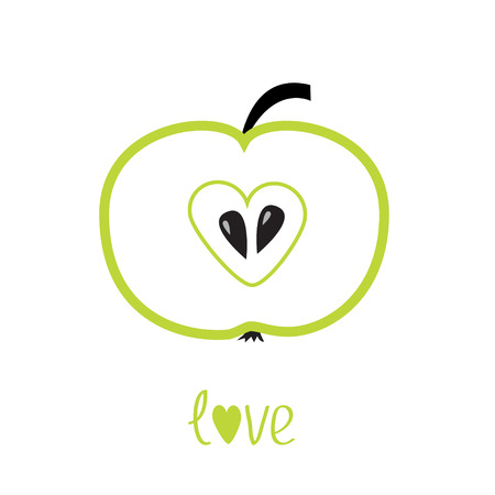 Green  apple with heart shape Vector