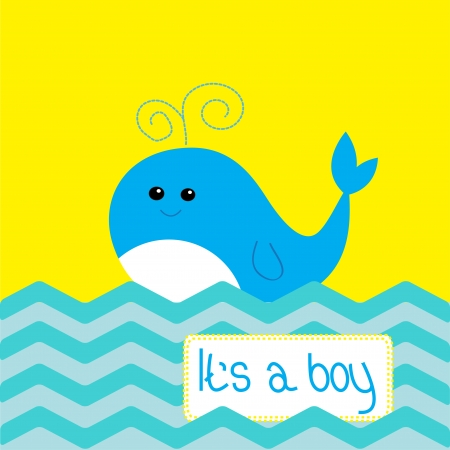 Baby boy shower card with cute whale Vector