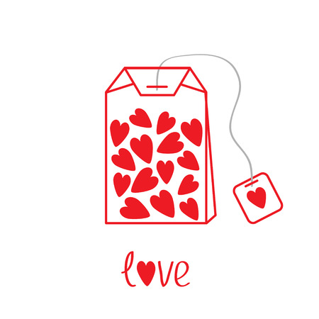 Teabag with hearts.  Love card.  Vector illustration. Vector