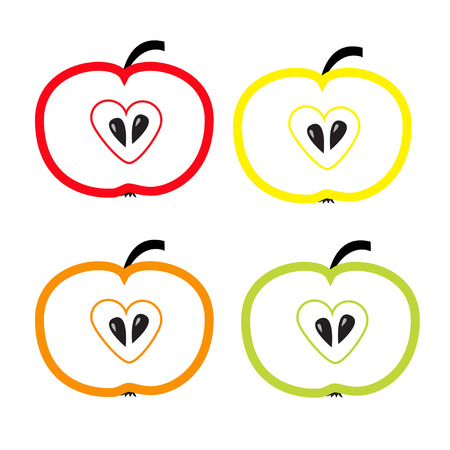 Set of color apples with heart shape Vector