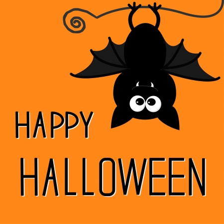 halloween cartoon: Cute bat. Happy Halloween card