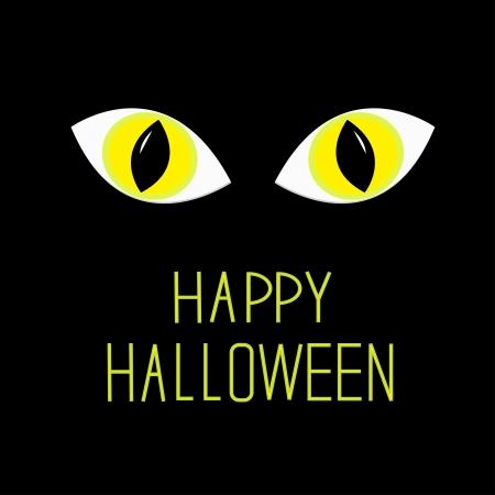 dark eyes: Cat eyes in dark night Happy Halloween card illustration Illustration