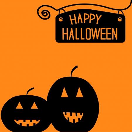 Happy Halloween  pumpkin card illustration Vector