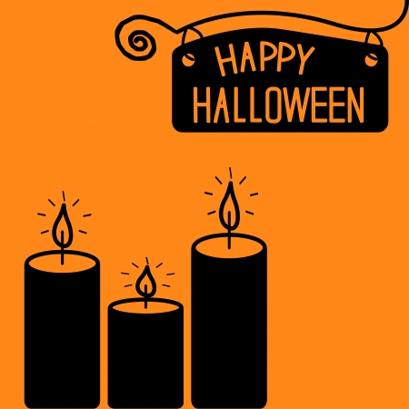 Happy Halloween  candle card illustration Vector