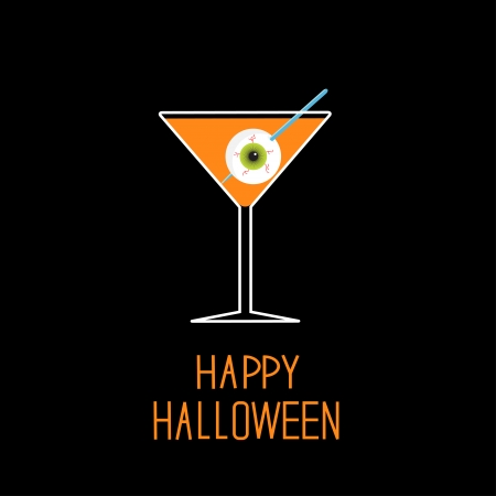 Martini glass with orange cocktail and eyeball. Halloween card. Vector illustration