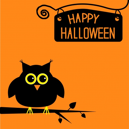 Happy Halloween  cute owl card illustration Vector