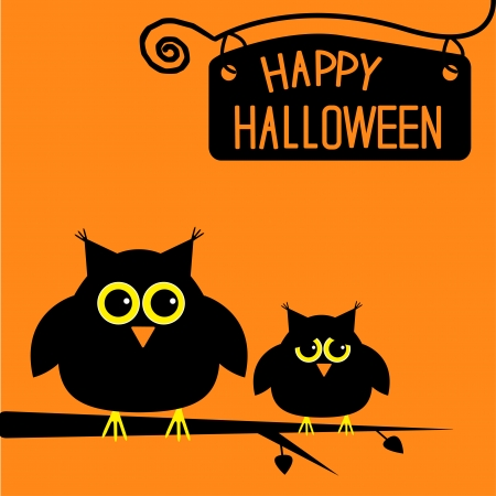 halloween cartoon: Happy Halloween  cute owls card illustration