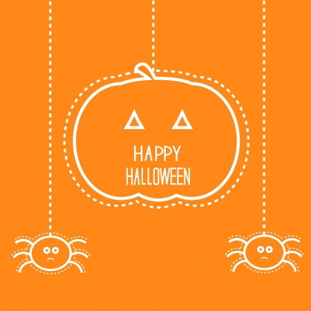Happy Halloween card with hanging pumpkin and two spiders. Vector