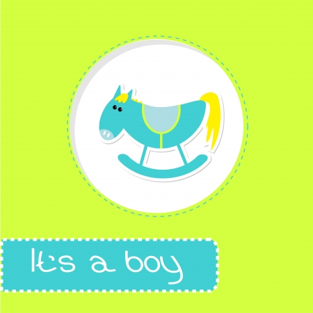 Baby boy shower card with cute horse illustration Illustration