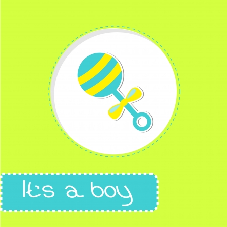 chap: Baby boy rattle Shower card illustration