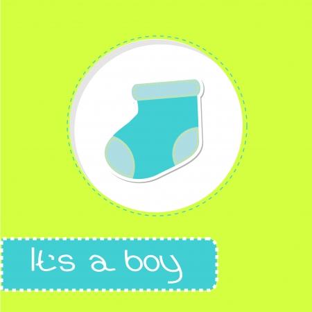 Baby boy sock Shower card illustration Vector