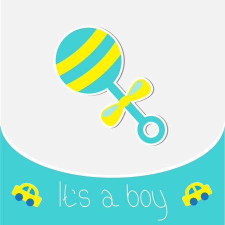 chap: Blue rattle Baby boy shower card illustration Illustration