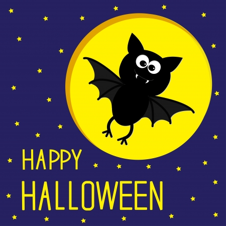 Flying bat Starry sky and moon Halloween card illustration Vector